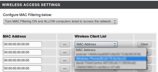 Mac address assignment list