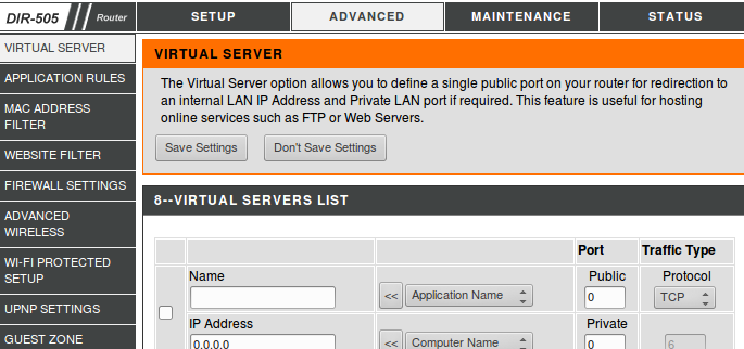 How to setup a Virtual Server on your WiFi Router (NAT)